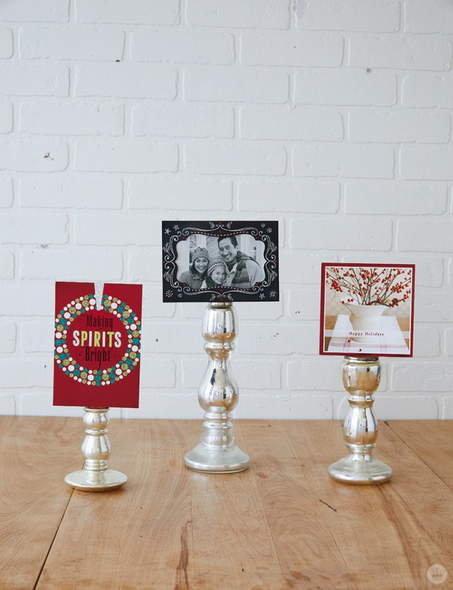 Candlestick Christmas card holders