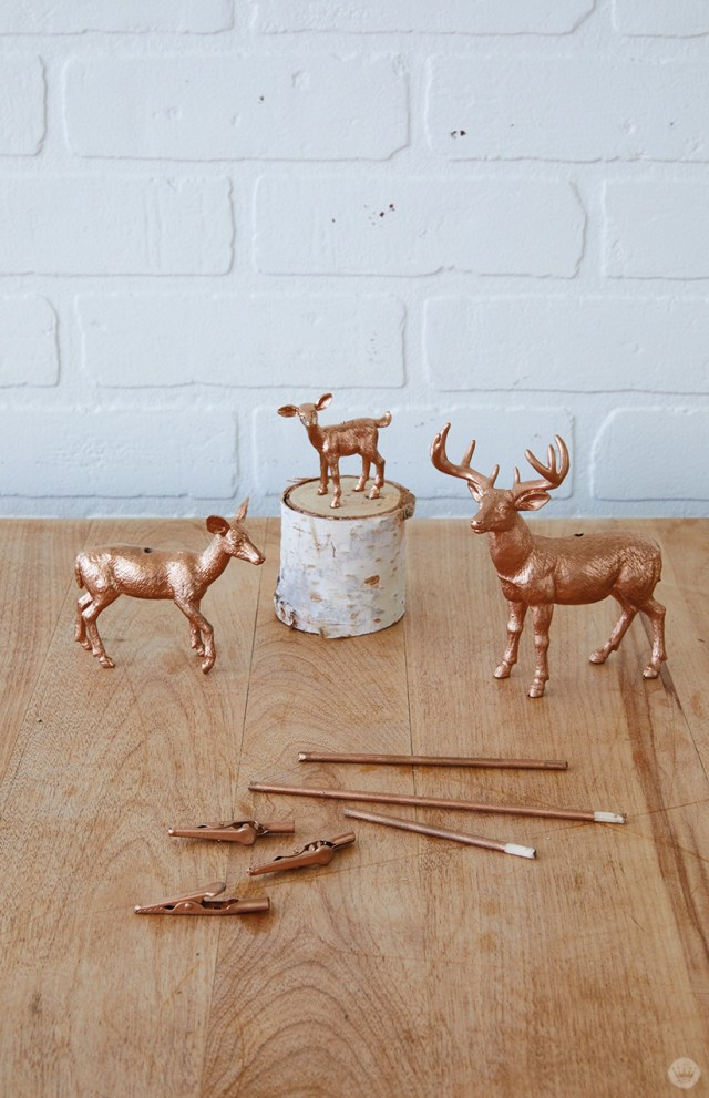 Painted supplies for Gilded Deer Christmas Card Holders