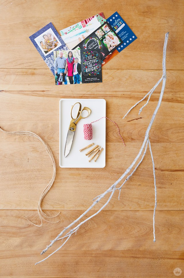 Supplies for Winter branch Christmas card holder