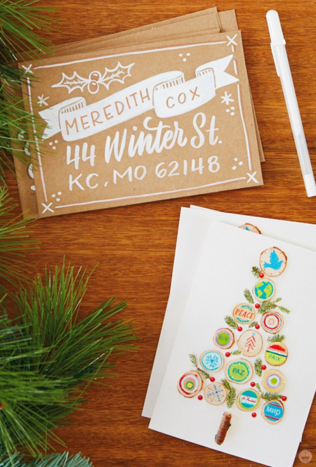 Christmas Card Challenge: hand addressed envelope and Hallmark card