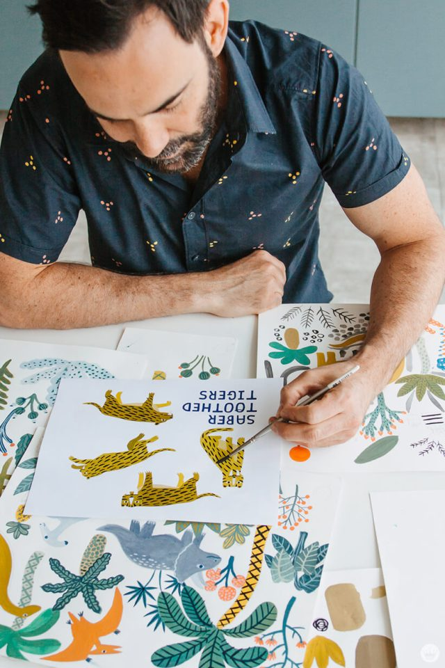 Colin W. illustrating for the Dinos and Botanicals collection from Hallmark Baby