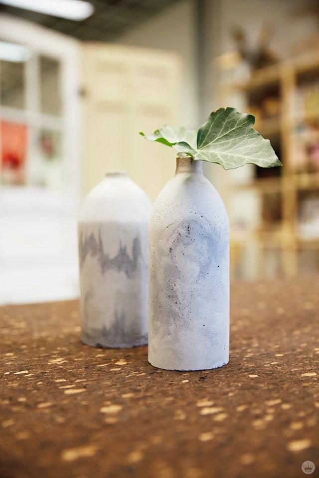 Finished concrete vases