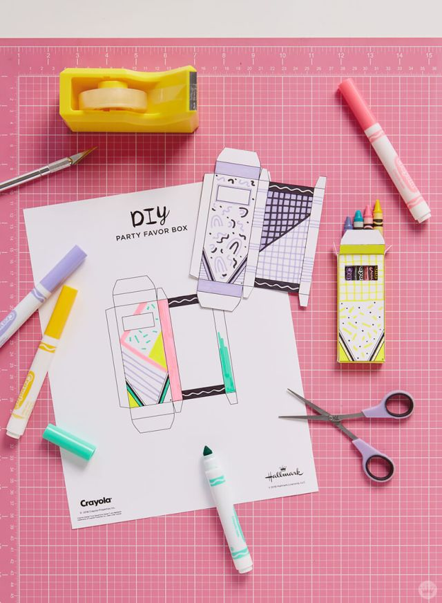 DIY crayon party favor box and Crayola® crayons and markers