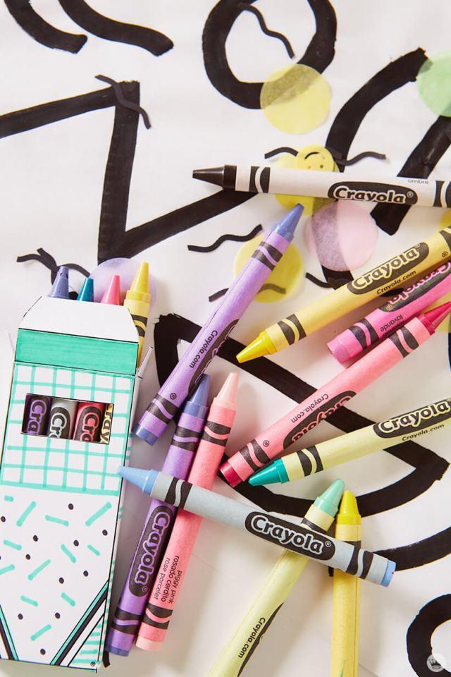 Crayola® crayons and DIY party favor box
