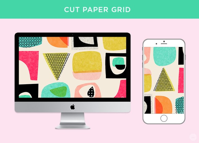 Cut paper grid digital wallpapers