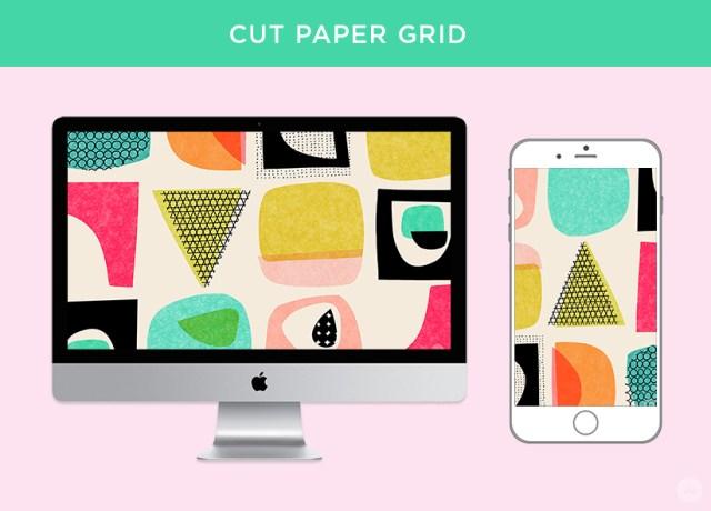 Cut paper grid digital wallpapers