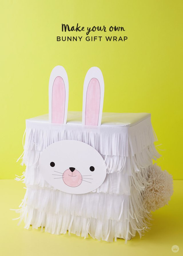 Kids Easter Gift Wrap Ideas: Tissue paper bunny