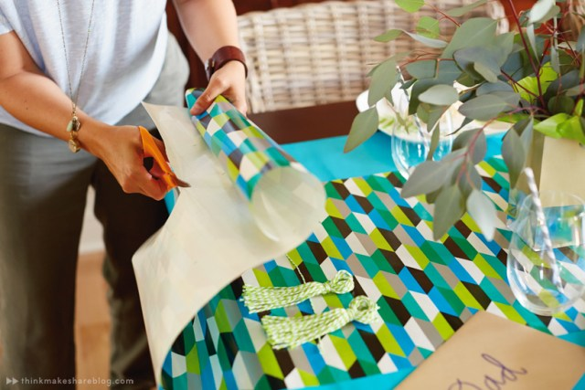 DIY Fathers Day tabletop with gift wrap products   thinkmakeshareblog.com
