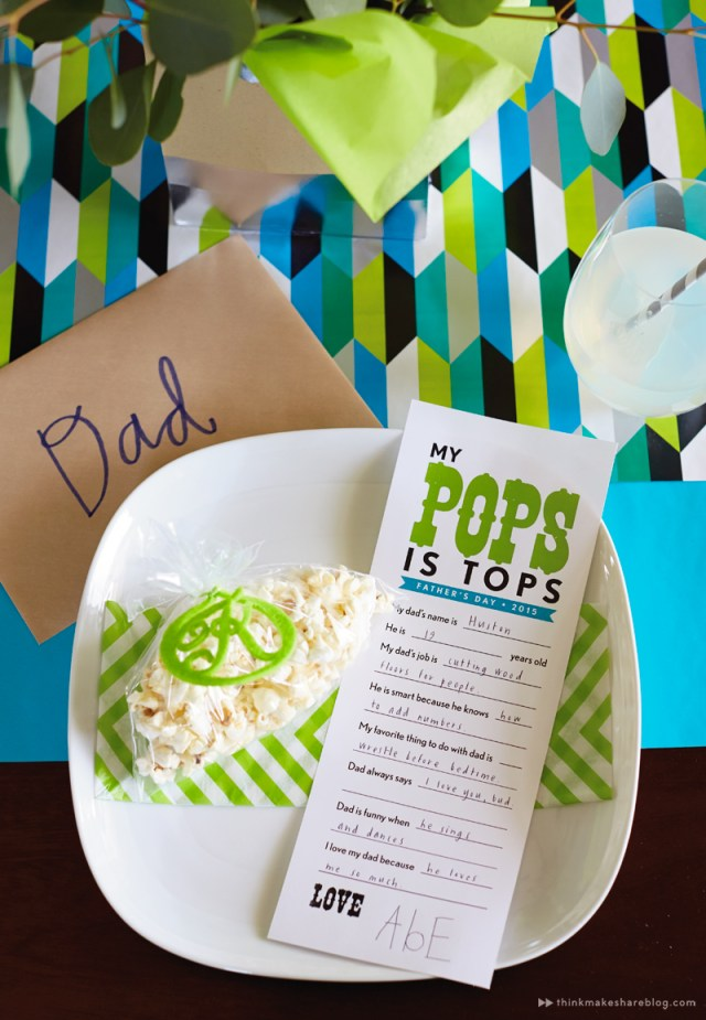 DIY Fathers Day tabletop with gift wrap | printable placecard | thinkmakeshareblog.com