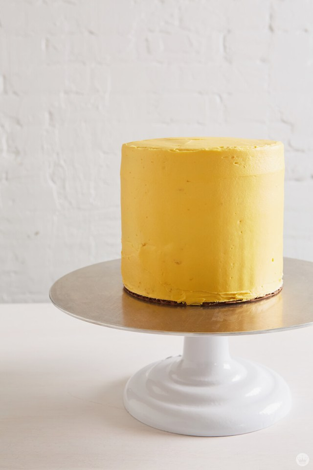 Frosted three-layer cake