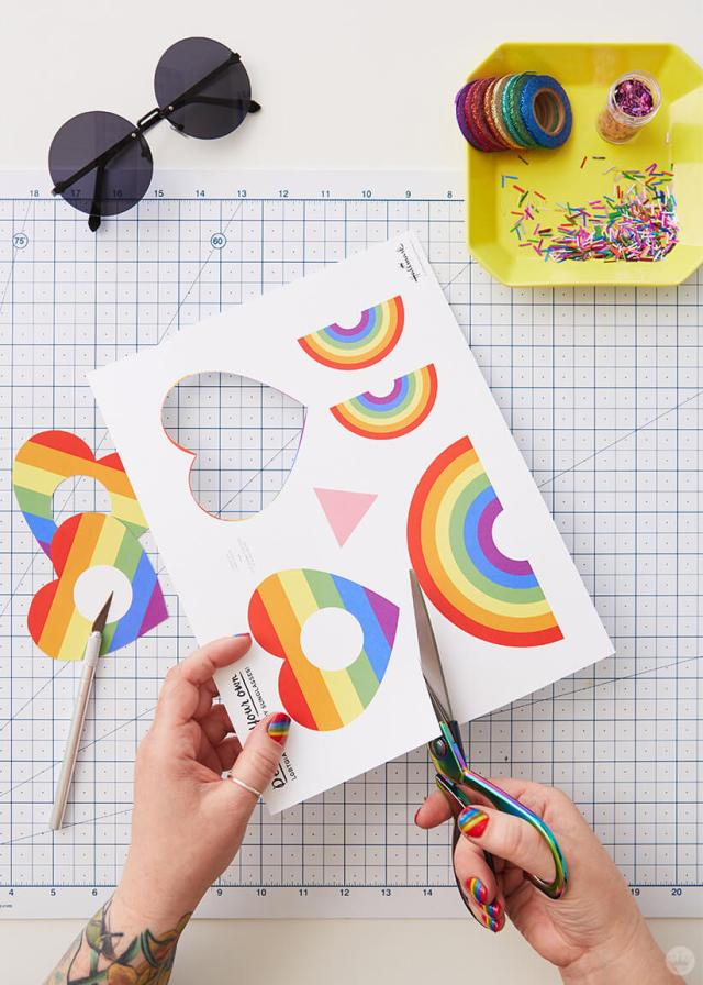 Cutting out the template for the DIY Pride Sunglasses | thinkmakeshareblog.com