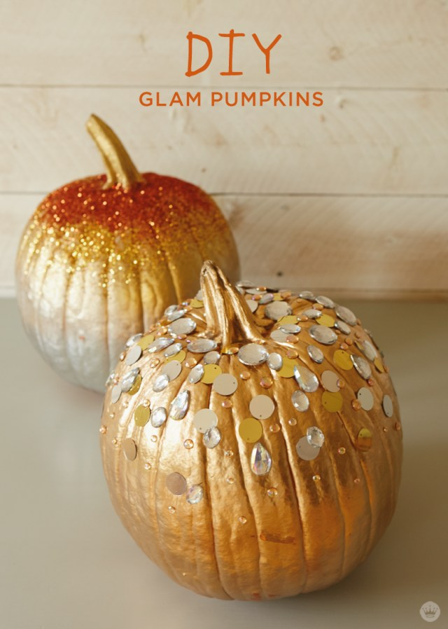 DIY glam pumpkin decorating with Hallmark Signature artists | thinkmakeshareblog.com