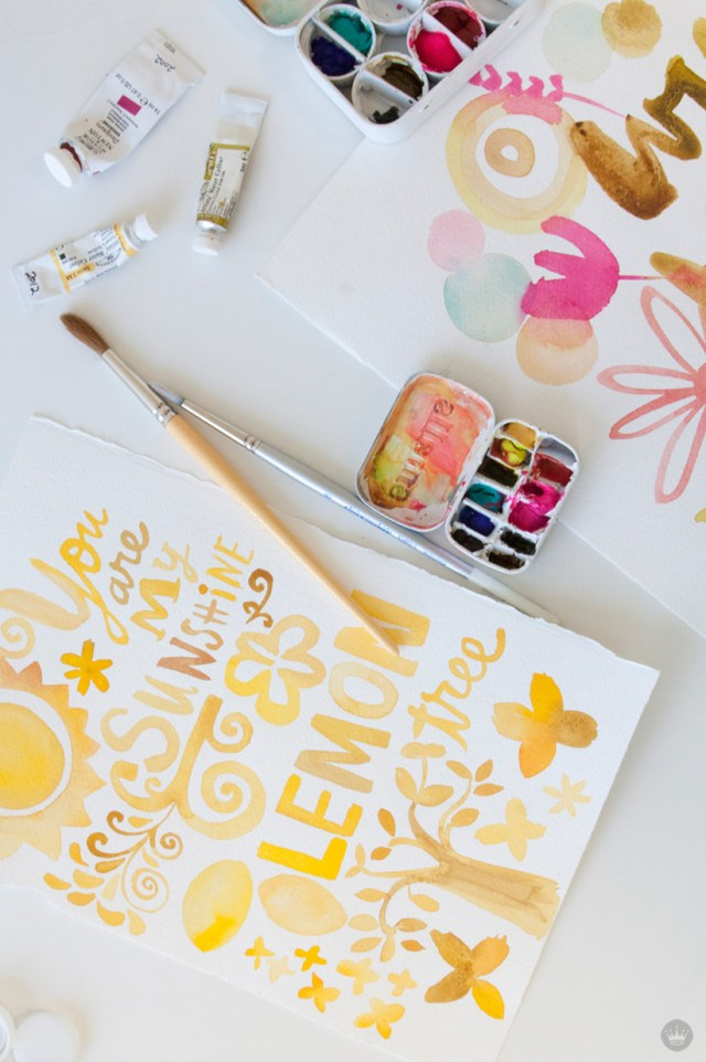 make your own watercolor art using a mini paint palette for Mother's Day time together