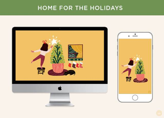 Free December 2018 digital wallpapers: Home for the Holidays