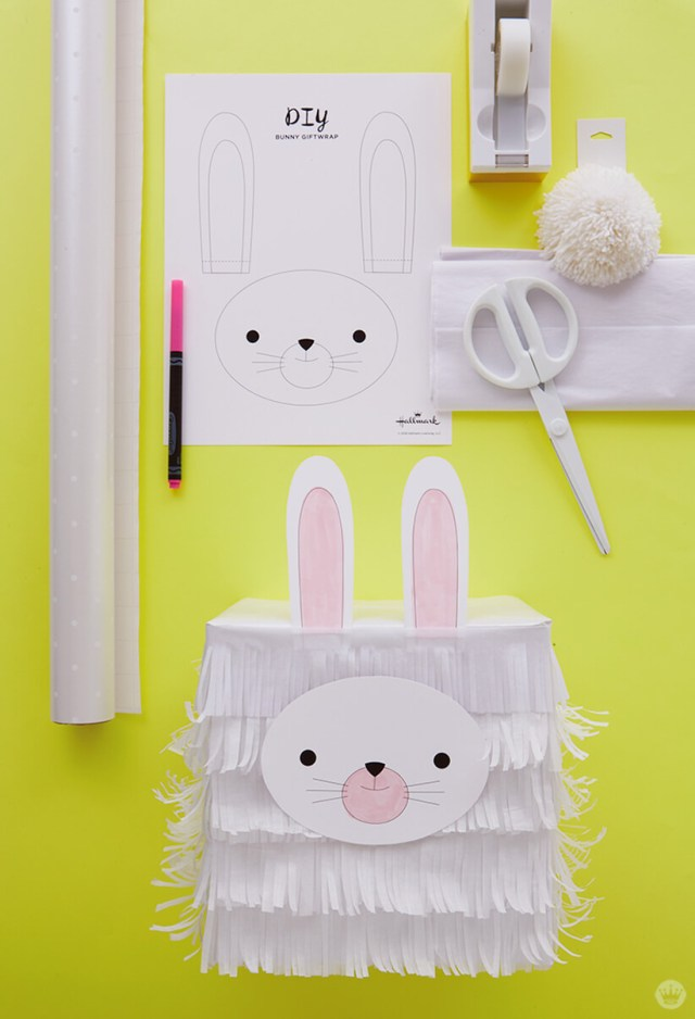 Kids Easter Gift Wrap Ideas: Tissue paper bunny supplies