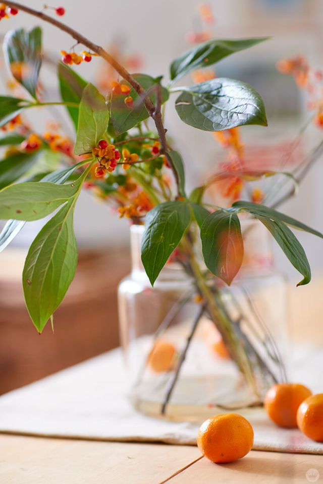 Fall berries and leaves in a glass jar