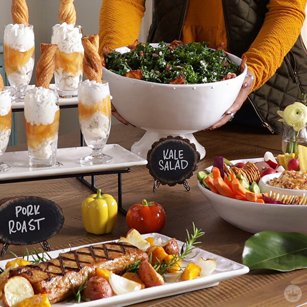 Potluck buffet table | thinkmakeshareblog.com