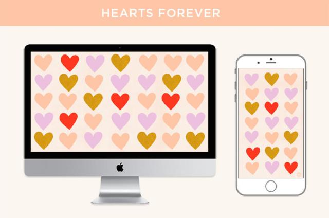 February Wallpapers: Hearts Forever design features repeating heart patterns. | thinkmakeshareblog.com