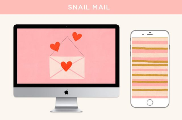 FREE February 2020 Digital Wallpapers: Snail Mail design features an envelope illustration for desktops and a stripe pattern for phones. | thinkmakeshareblog.com