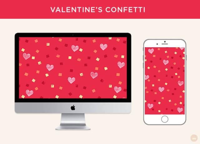 Free February 2019 digital wallpapers: Valentine's Confetti   thinkmakeshareblog.com