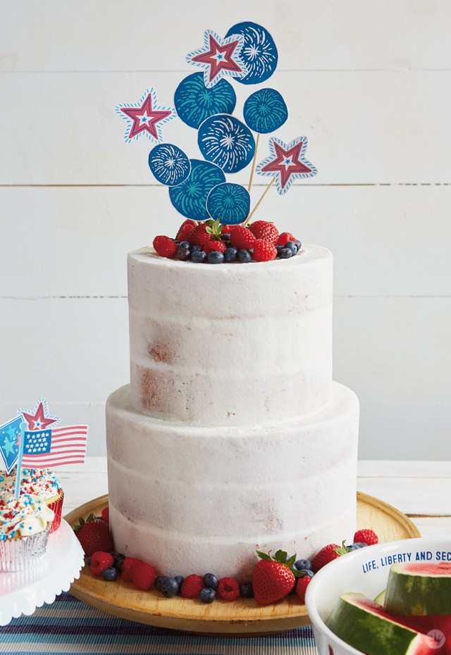 Cake decorated with July 4th toppers (free printable).