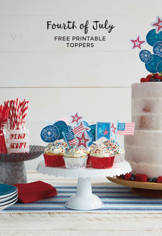 4th of July Toppers (shown in cupcakes and as cake toppers)