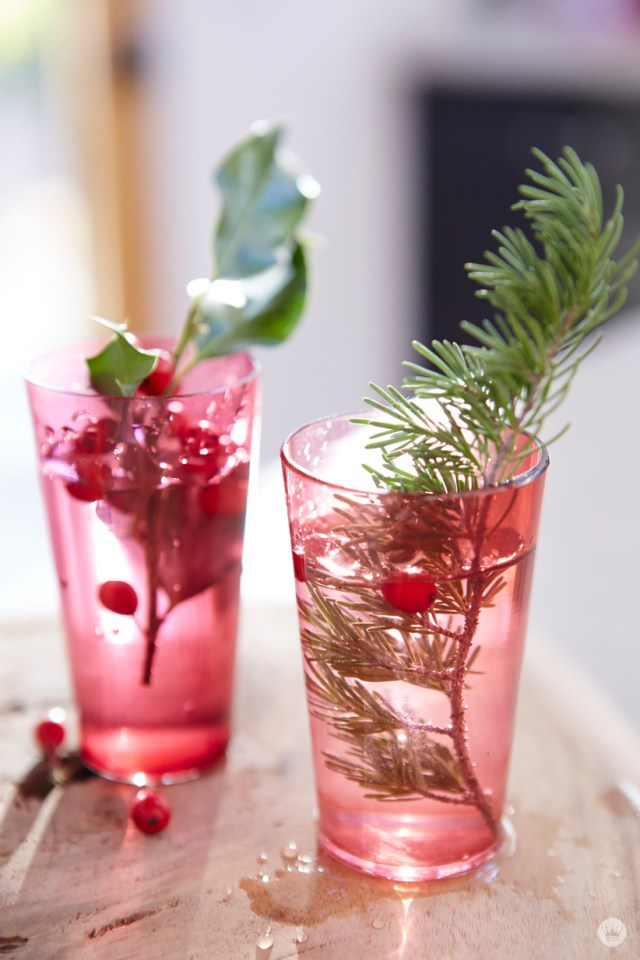 Fun and easy holiday gift giving tips from a Hallmark stylist. natural greens in red glasses.