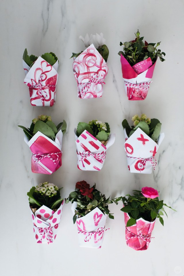 DIY Galentine's Day gifts: Canvas planter wraps with pink and red designs