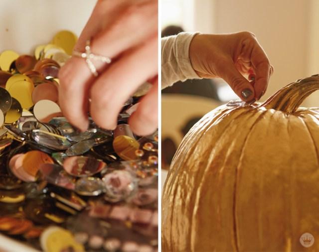 DIY Glam Pumpkin decorating | thinkmakeshareblog.com