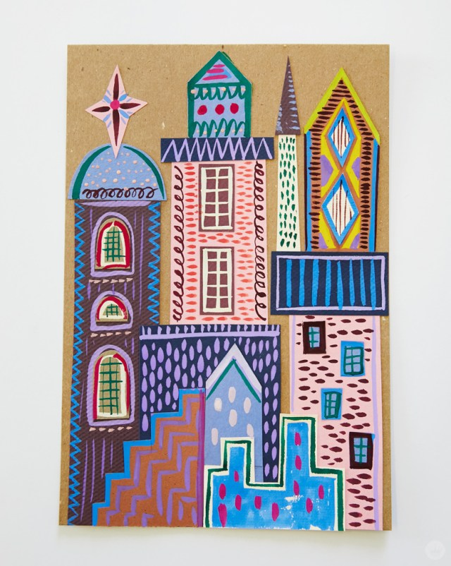 Gouache Workshop: Brightly colored collaged building structures detailed with gouache
