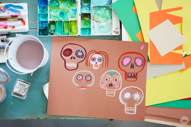Gouache Workshop: Painted sugar skulls on a tan background