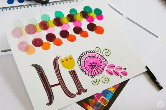Gouache Workshop exercises: circles, letters, patterns