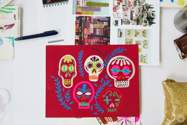 Gouache Workshop: Painted sugar skulls on a dark red background