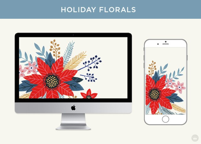 Free downloadable holiday florals digital wallpapers