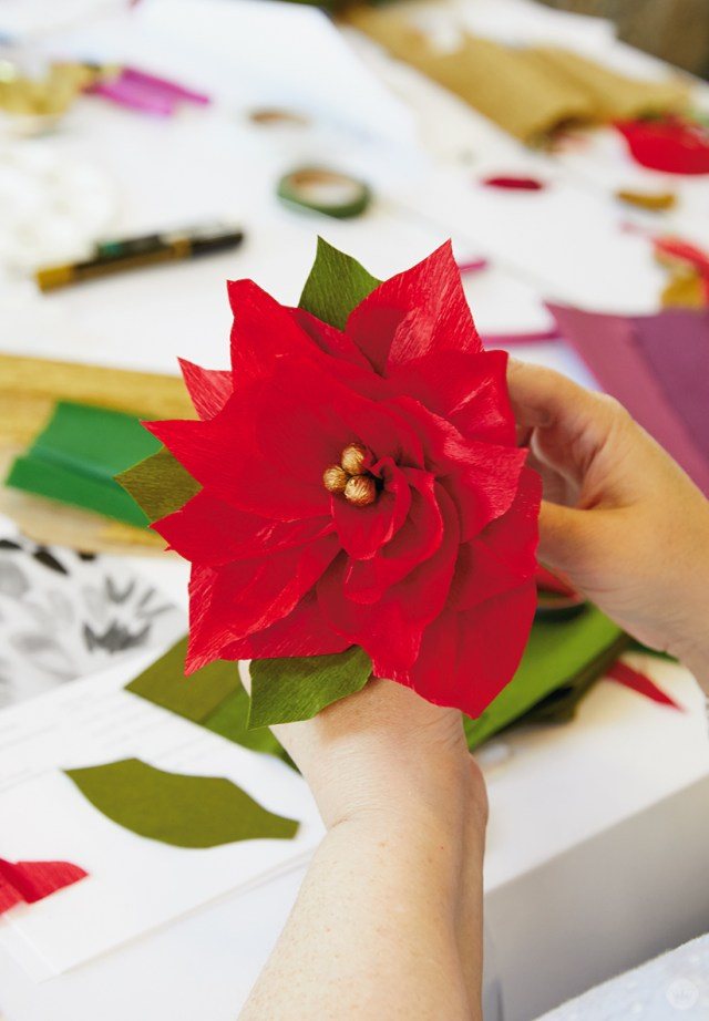 Make Diy Paper Poinsettia Gifts And Wreaths And More Think Make Share