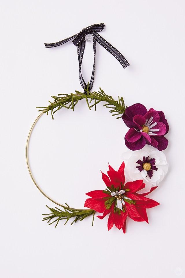 DIY paper poinsettia wreath