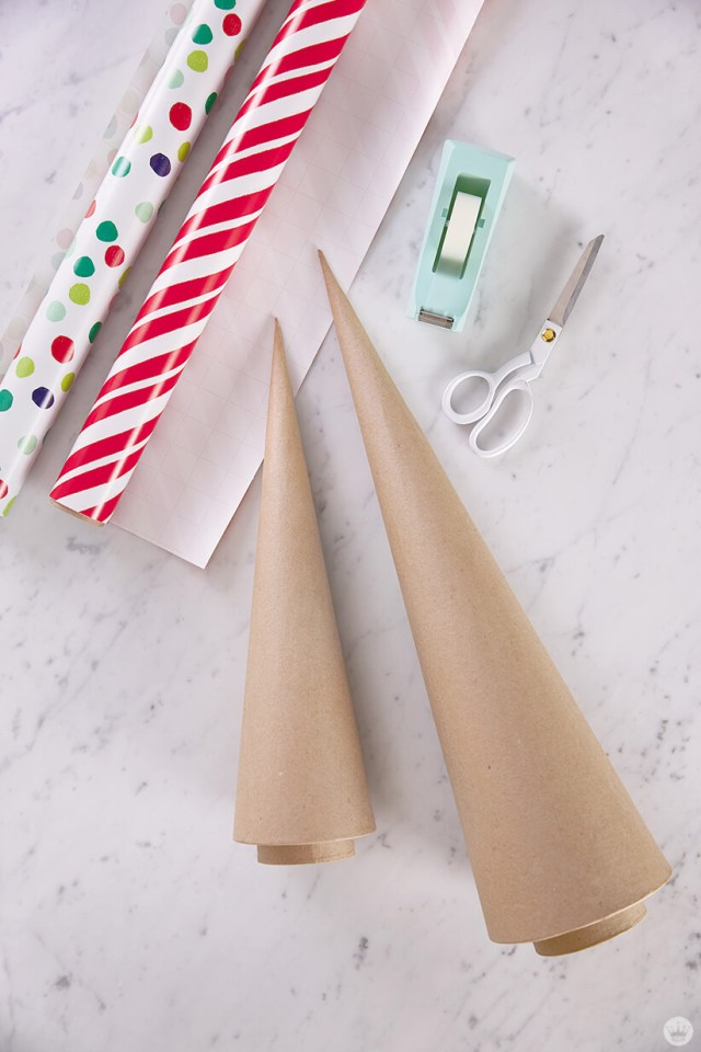 Supplies for covering cardboard trees with wrapping paper | thinkmakeshareblog.com