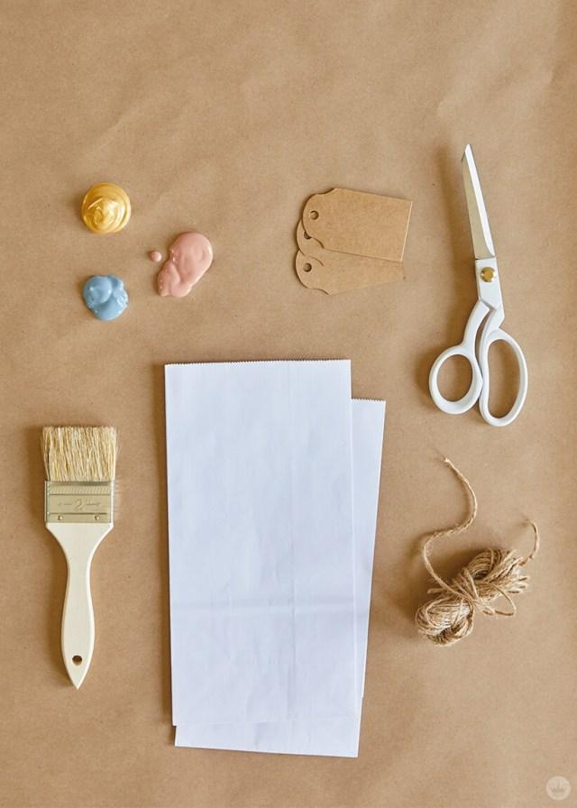 Supplies for DIY Paper Plant Bags | thinkmakeshareblog.com