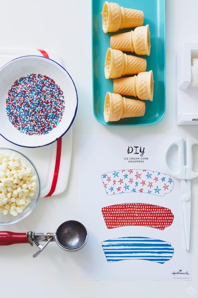 Supplies for Patriotic Ice Cream Cones