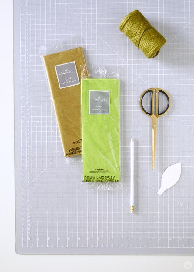 Fournitures prévues pour la guirlande de vigne en papier bricolage | thinkmakeshareblog.com