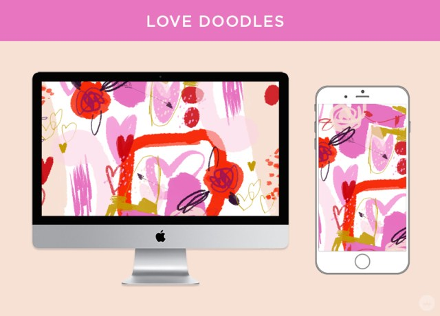Love Doodles: free February 2018 digital wallpapers