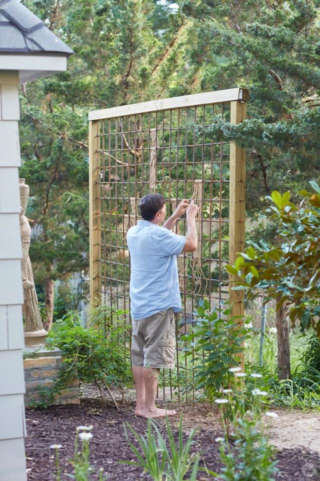 Hallmark Photo Stylist Andy N. shows how he creates macramé yard art on a trellis in his garden.