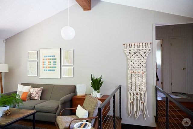 Multiple angles of macramé wall hangings displayed in contemporary home.