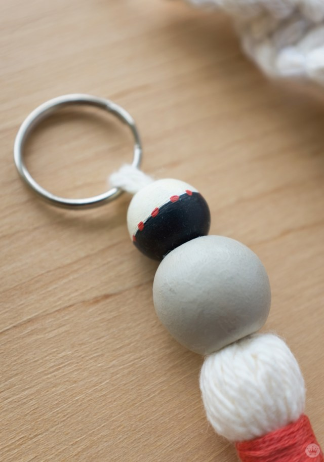 Handpainted beads on a tassel keyring