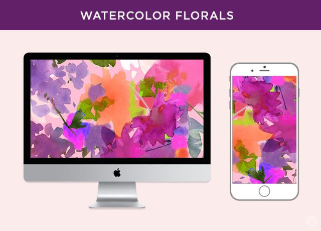 Free May 2018 digital wallpapers: Watercolor florals