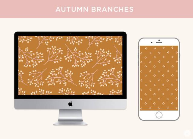 FREE November 2019 digital wallpapers: Delicate branches with berries shown on a monitor and iPhone.