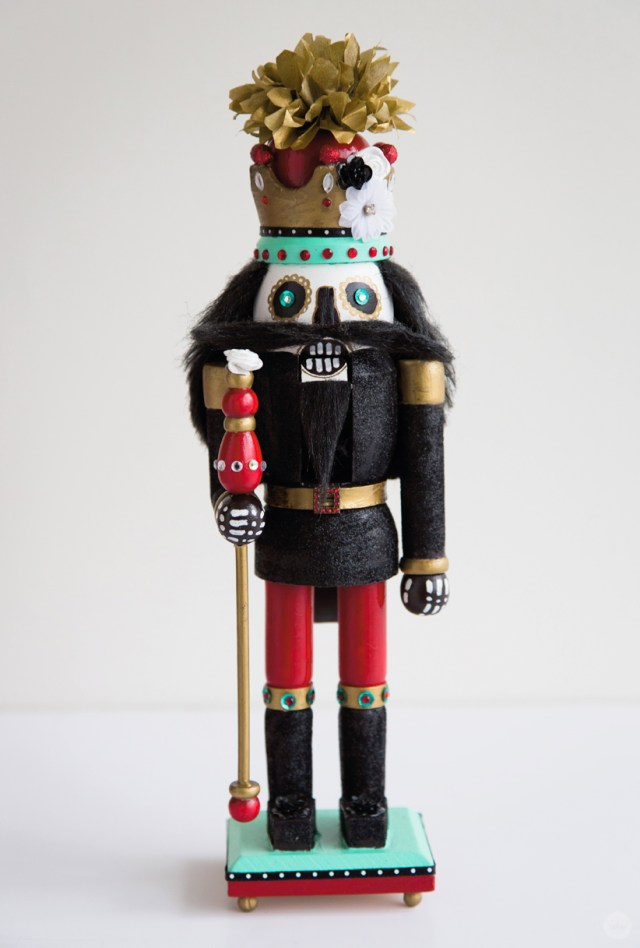 Finished hand painted nutcracker with skeleton face and amazing headgear
