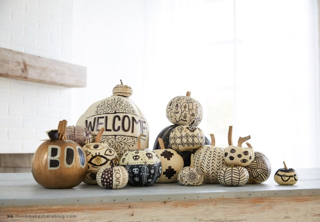 Stacked pumpkins for black and white Halloween decor