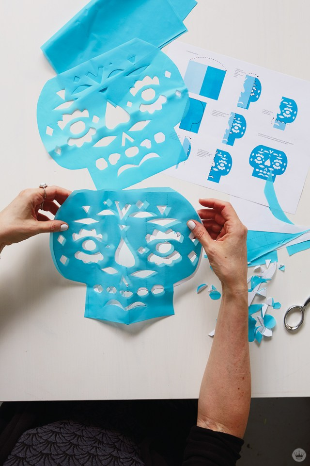 DIY Papel Picado: Finished skull designs