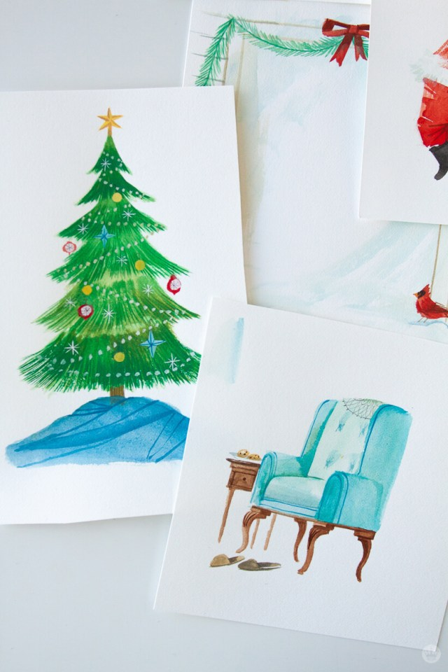 Paintings of a Christmas tree and Santa's chair | thinkmakeshareblog.com